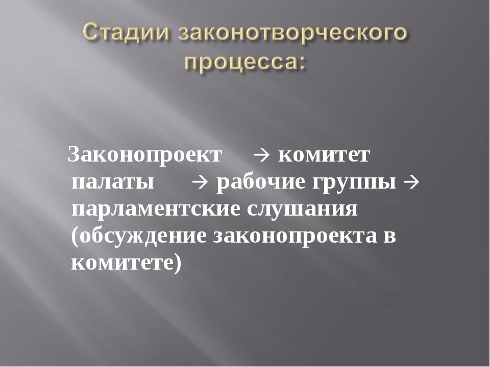 Законопроект  комитет палаты  рабочие группы  парламентские слушания (обс...