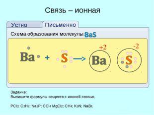 Схема образования молекулы: Связь – ионная +2 -2 Задание: Выпишите формулы ве