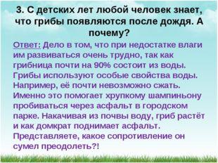 3. С детских лет любой человек знает, что грибы появляются после дождя. А поч