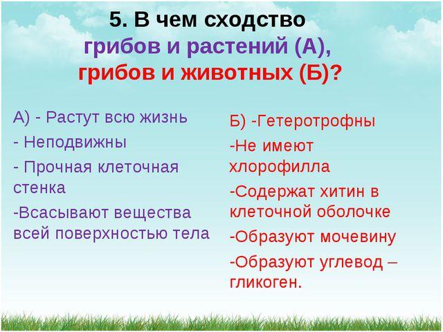 5. В чем сходство грибов и растений (А), грибов и животных (Б)? А) - Растут в...