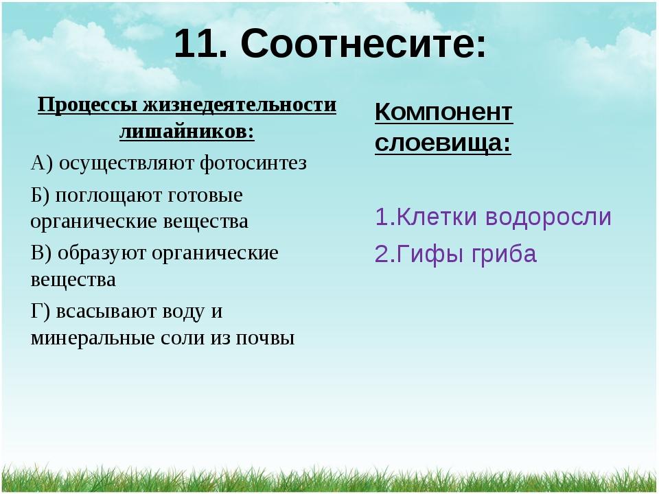 11. Соотнесите: Процессы жизнедеятельности лишайников: А) осуществляют фотоси...
