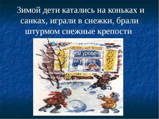 Зимой дети катались на коньках и санках, играли в снежки, брали штурмом снеж...