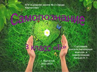 КГУ «Средняя школа № 3 города Курчатова» г. Курчатов 2015-2016 гг. Составила