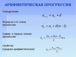 АРИФМЕТИЧЕСКАЯ ПРОГРЕССИЯ Определение  Формула n-го члена прогрессии Сумма