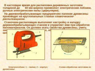 В настоящее время для распиловки деревянных заготовок толщеной до 60 мм широ