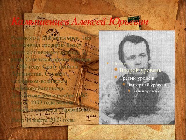 Камышенцев Алексей Юрьевич Родился в г. Магнитогорск. Там же окончил среднюю...