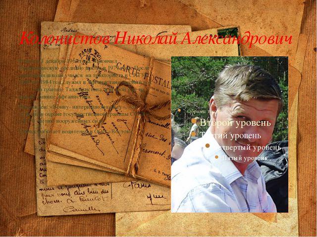 Колонистов Николай Александрович Родился 3 декабря 1963 года. Закончил Парфен...