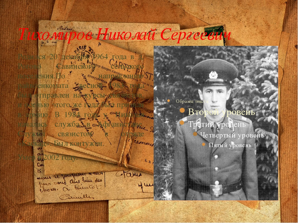 Тихомиров Николай Сергеевич Родился 20 декабря 1964 года в д. Рогово Савинско...