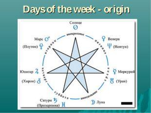 Days of the week - origin