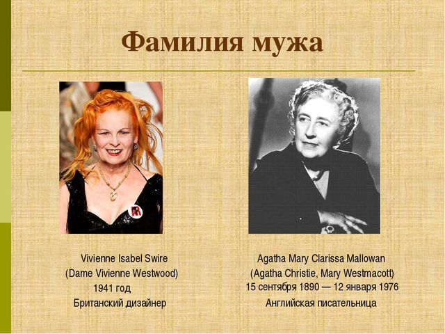Фамилия мужа (Dame Vivienne Westwood) Agatha Mary Clarissa Mallowan (Agatha C...