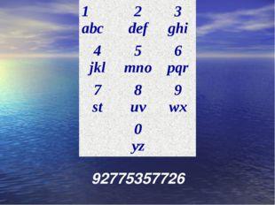 92775357726 1 abc2 def3 ghi 4 jkl5 mno6 pqr 7 st8 uv9 wx 0 yz