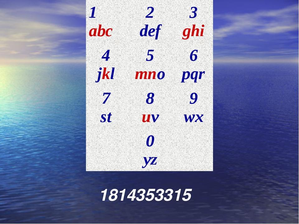 1814353315 1 abc2 def3 ghi 4 jkl5 mno6 pqr 7 st8 uv9 wx 0 yz