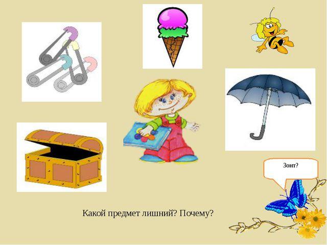 Какой предмет лишний? Почему? Зонт?