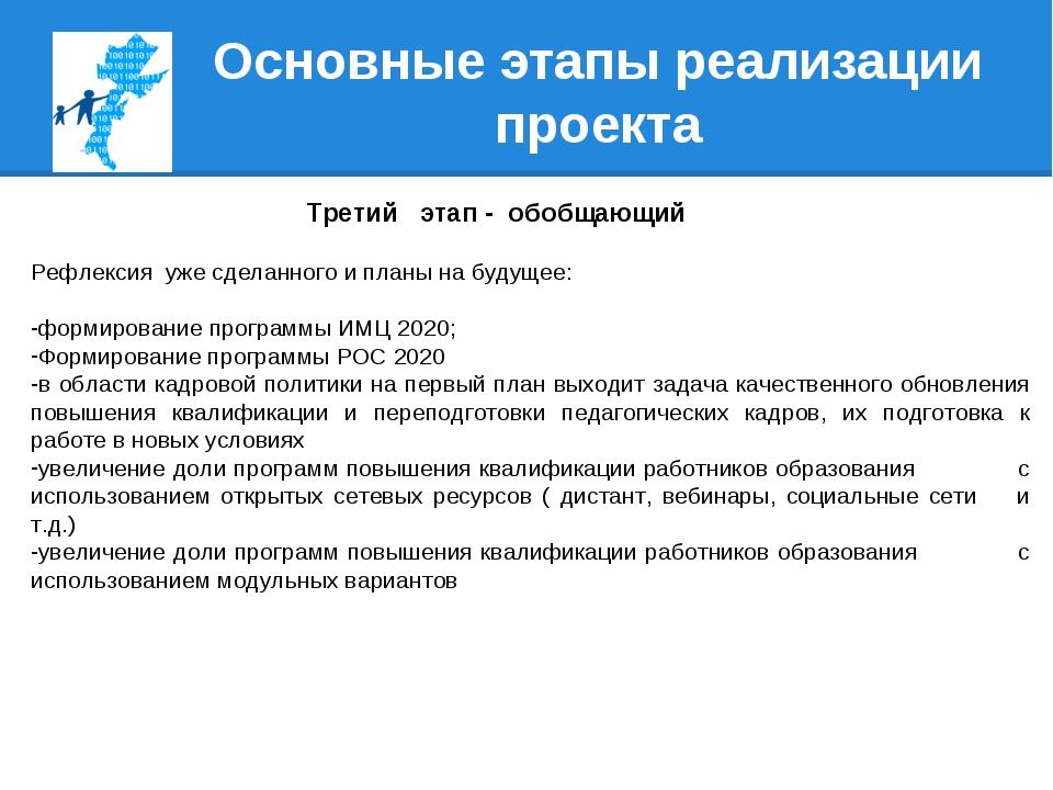 Основные этапы реализации проекта Третий этап - обобщающий Рефлексия уже сдел...