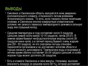 выводы Смоленск и Смоленская область находятся в зоне умеренно-континентально