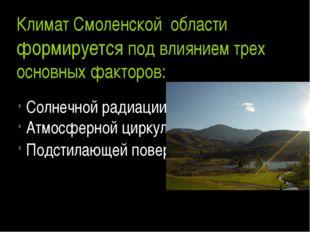 Климат Смоленской области формируется под влиянием трех основных факторов: Со