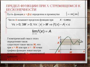 ПРЕДЕЛ ФУНКЦИИ ПРИ X СТРЕМЯЩЕМСЯ К БЕСКОНЕЧНОСТИ Пусть функция y = f(x) опред