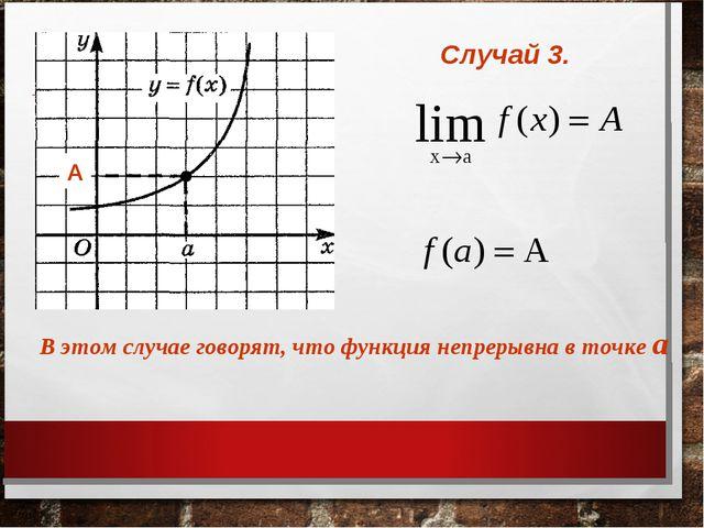 Случай 3. А В этом случае говорят, что функция непрерывна в точке а