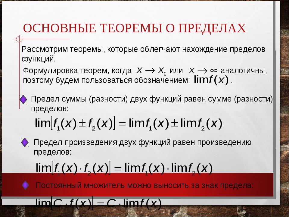 ОСНОВНЫЕ ТЕОРЕМЫ О ПРЕДЕЛАХ Рассмотрим теоремы, которые облегчают нахождение...