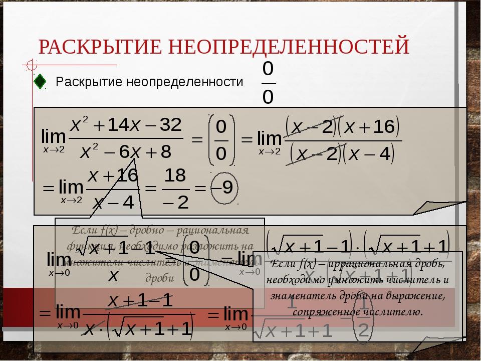 РАСКРЫТИЕ НЕОПРЕДЕЛЕННОСТЕЙ Раскрытие неопределенности Если f(x) – дробно – р...