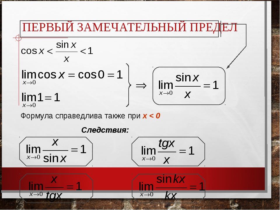 ПЕРВЫЙ ЗАМЕЧАТЕЛЬНЫЙ ПРЕДЕЛ Следствия: Формула справедлива также при x < 0