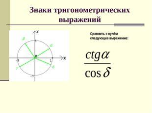 Знаки тригонометрических выражений Сравнить с нулём следующее выражение: