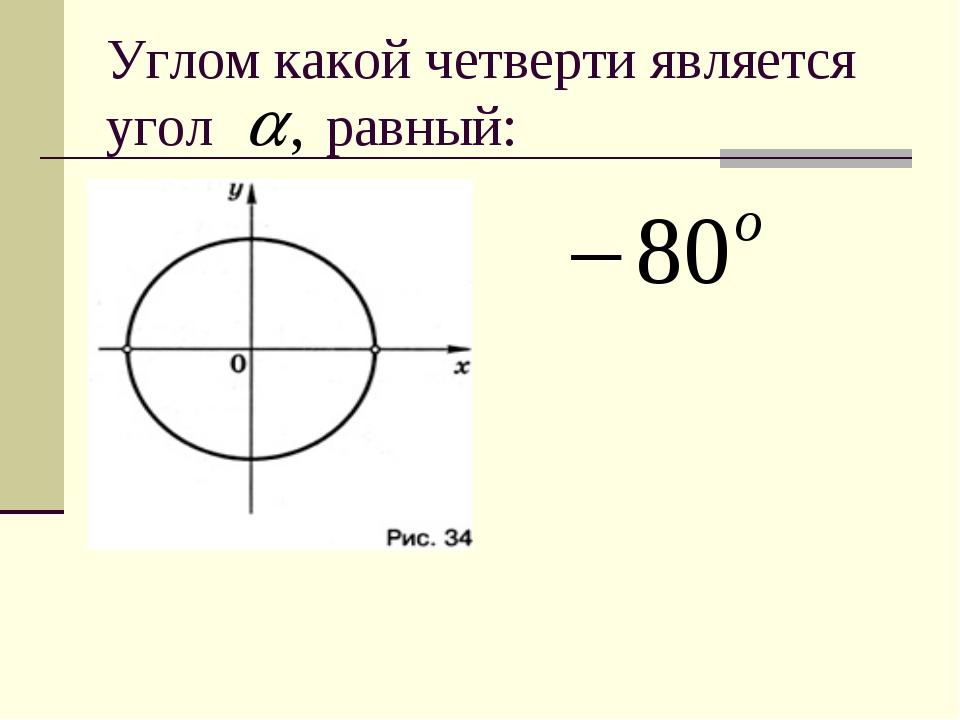 Углом какой четверти является угол равный: