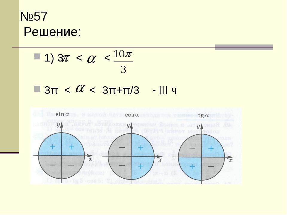 №57 Решение: 1) 3  < < 3π < < 3π+π/3 - III ч