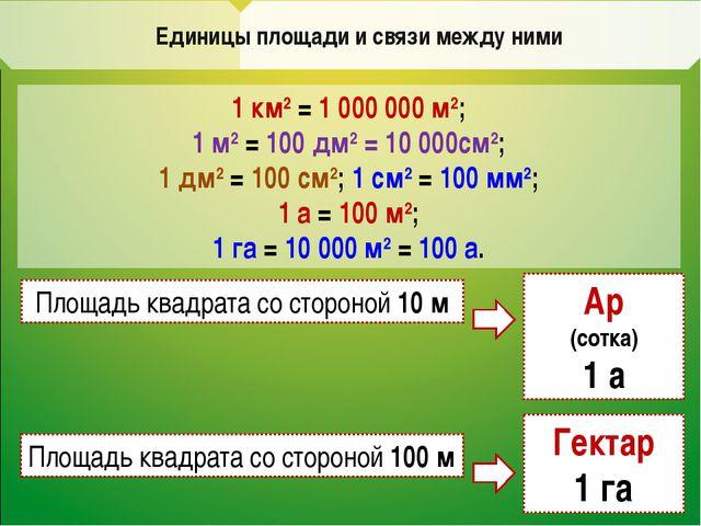 Единицы площади и связи между ними 1 км2 = 1 000 000 м2; 1 м2 = 100 дм2 = 10...