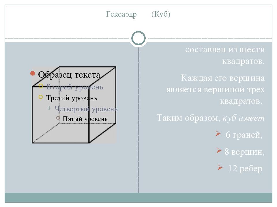 Гексаэдр (Куб) составлен из шести квадратов. Каждая его вершина является верш...