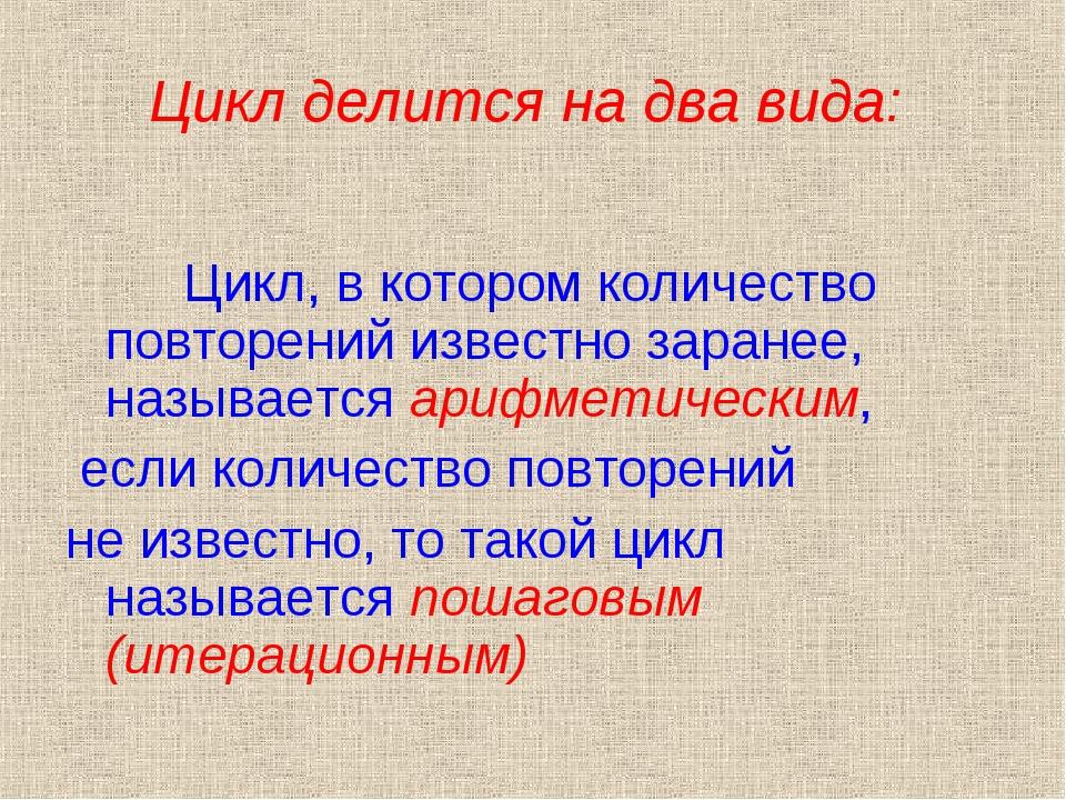 Цикл делится на два вида: Цикл, в котором количество повторений известно зара...