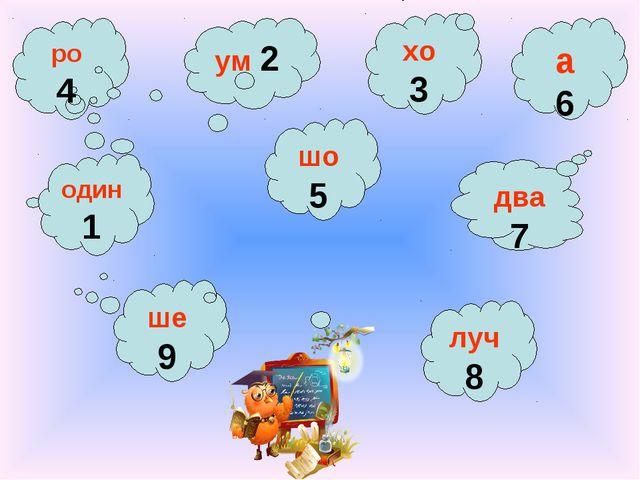 ро 4 ум 2 один 1 хо 3 шо 5 два 7 ше 9 луч 8 а 6