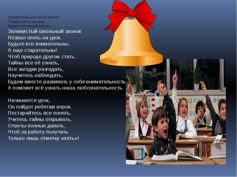Заливистый школьный звонок Позвал опять на урок. Будьте все внимательны, Зали...