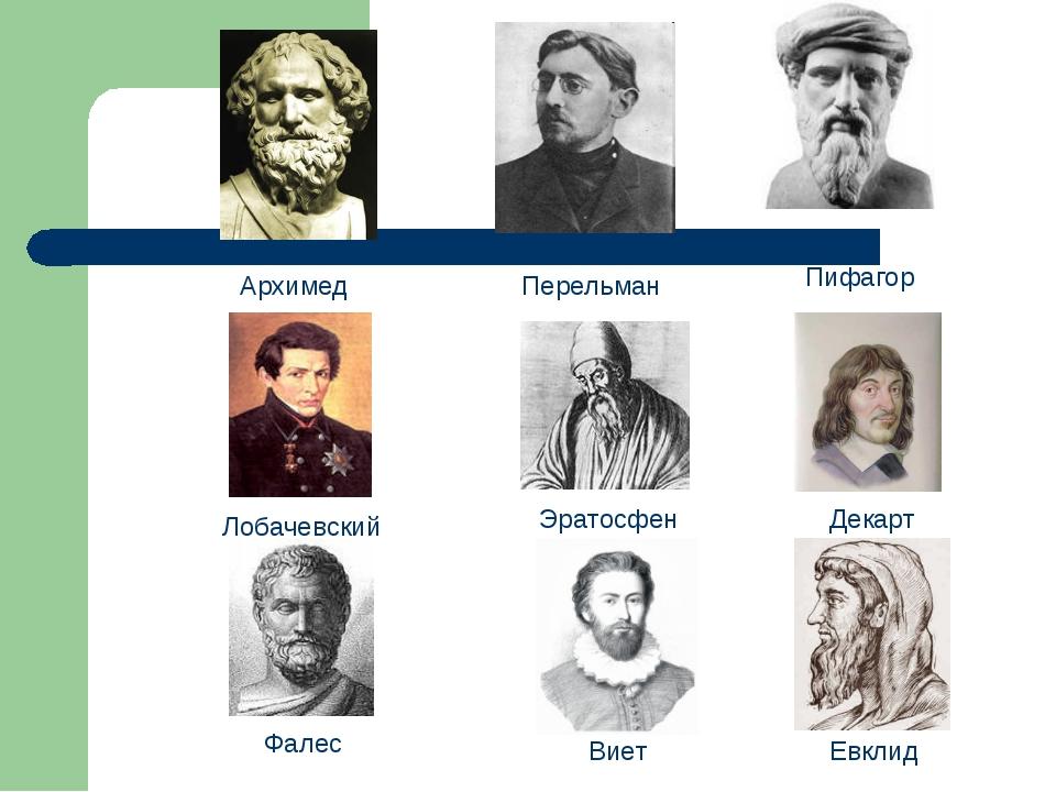 Лобачевский Перельман Декарт Виет Архимед Фалес Эратосфен Пифагор Евклид