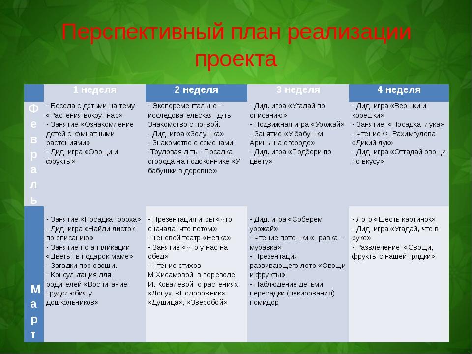 Перспективный план реализации проекта  1 неделя 2 неделя 3 неделя 4 неделя Ф...