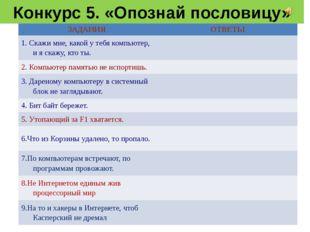 Конкурс 5. «Опознай пословицу» ЗАДАНИЯ ОТВЕТЫ 1. Скажимне, какой у тебя компь