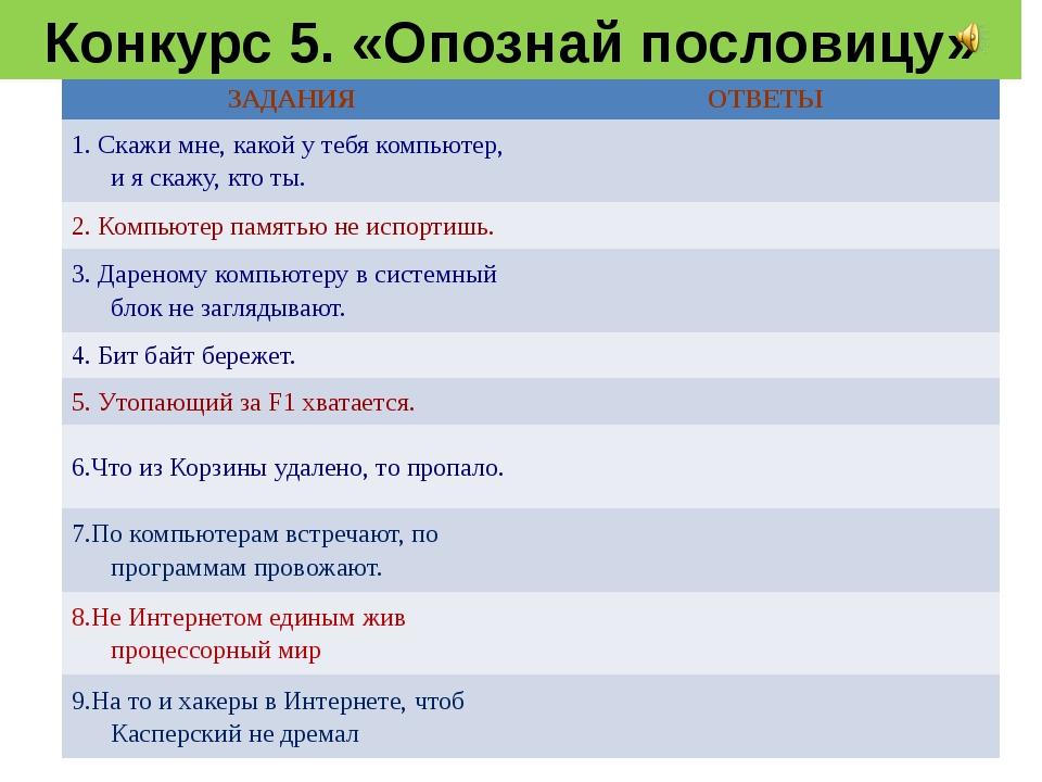 Конкурс 5. «Опознай пословицу» ЗАДАНИЯ ОТВЕТЫ 1. Скажимне, какой у тебя компь...