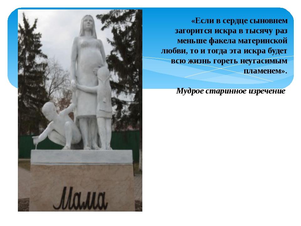 «Если в сердце сыновнем загорится искра в тысячу раз меньше факела материнско...