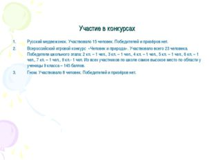 Участие в конкурсах Русский медвежонок. Участвовало 15 человек. Победителей и