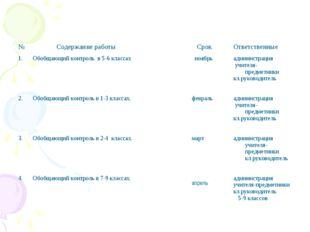 № Содержание работы СрокОтветственные 1. 2. 3. 4.Обобщающий контроль в 5-