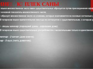 ИСЕМНЕҢ КҮПЛЕК САНЫ В татарском языке множественное число имен существительны