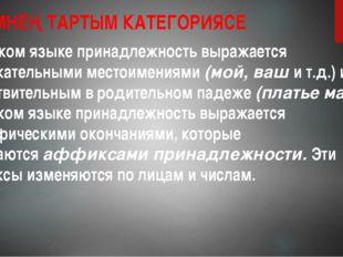 ИСЕМНЕҢ ТАРТЫМ КАТЕГОРИЯСЕ В русском языке принадлежность выражается притяжат