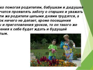 7.Только помогая родителям, бабушкам и дедушке дети учатся проявлять заботу о