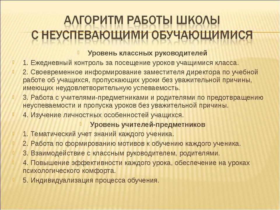 Уровень классных руководителей 1. Ежедневный контроль за посещение уроков уча...