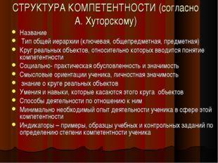 СТРУКТУРА КОМПЕТЕНТНОСТИ (согласно А. Хуторскому) Название Тип общей иерархии