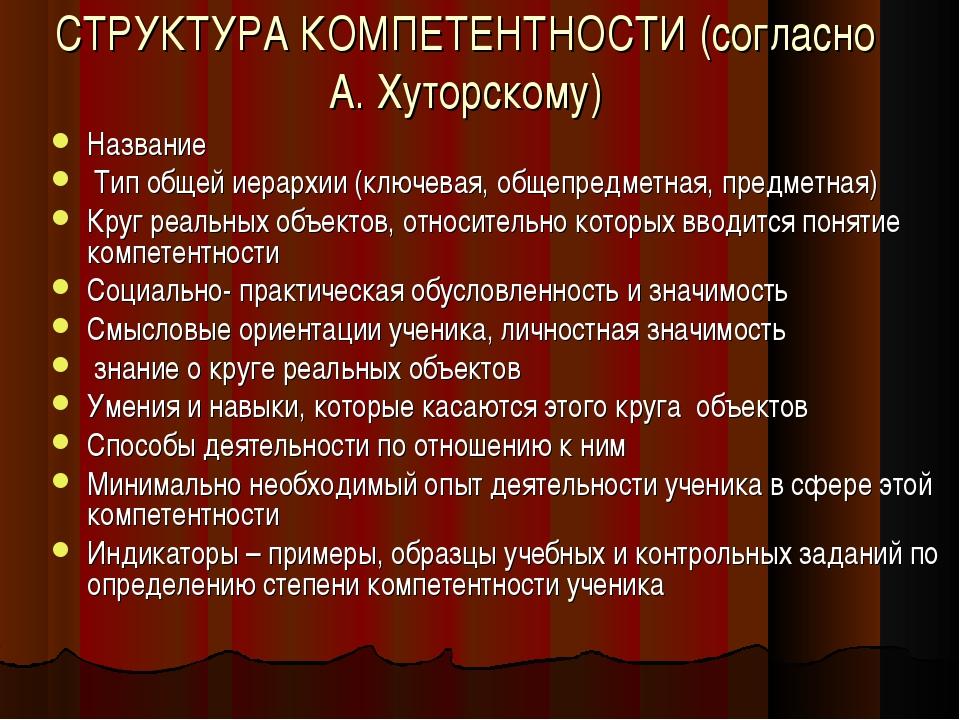 СТРУКТУРА КОМПЕТЕНТНОСТИ (согласно А. Хуторскому) Название Тип общей иерархии...