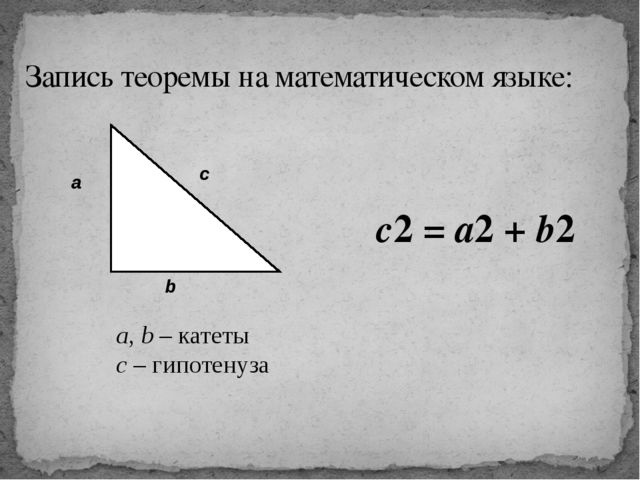 Запись теоремы на математическом языке: a, b – катеты с – гипотенуза c2 = a2...