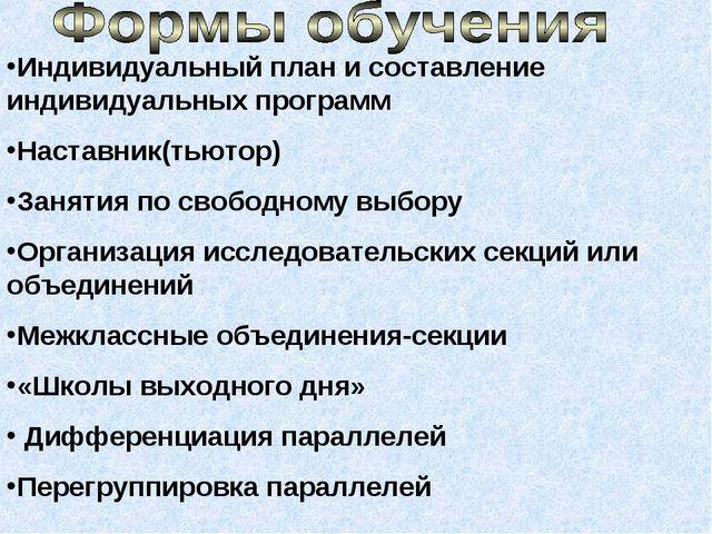 Индивидуальный план и составление индивидуальных программ Наставник(тьютор) З...