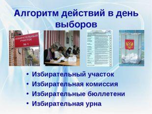 Алгоритм действий в день выборов Избирательный участок Избирательная комиссия