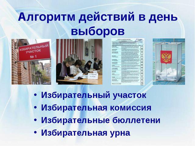 Алгоритм действий в день выборов Избирательный участок Избирательная комиссия...
